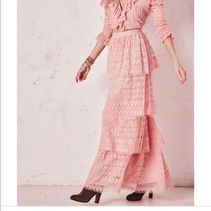 NWT loveshackfancy pink Harriet long skirt 6